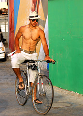 Going to the beach (ido1) Tags: summer hot guy beach hat bike israel telaviv riding drumms drummersbeach