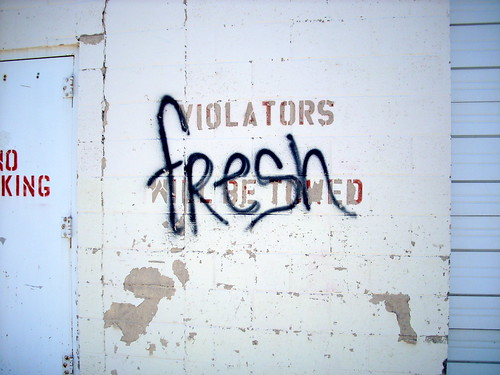 fresh violations graffiti on wall