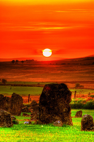 Sunset over Beaghmore Stone Circles