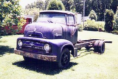 1956 C600 (boisblanc1954) Tags: old blue ford abandoned truck vintage project rusty hotrod junkyard scrap gmc coe cabover