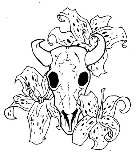 Skull and Flowers Tattoo design. cow