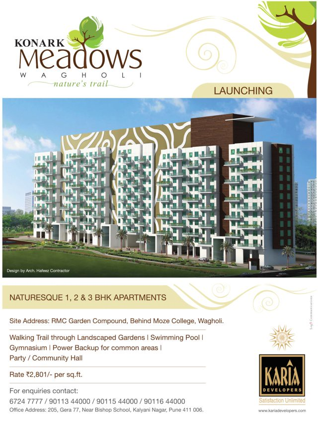 Karia Developers' Konark Meadows - 1 BHK 2 BHK 3 BHK Flats - at RMC Garden Compound - behind Moze College - Wagholi - Kharadi annexe - Nagar Road - Pune - Launch Ad (DNA 7-5-2011)