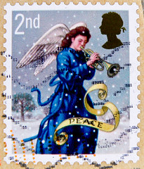 stamp xmas UK christmas UK GB 2nd Class Great Britain England angel trumpet noel United Kingdom UK timbre navidad Grande-Bretagne postage porto natal francobolli Gran Bretagna bollo sellos selo Gran Bretaa franco noel timbres    yupio D Blidi (stampo