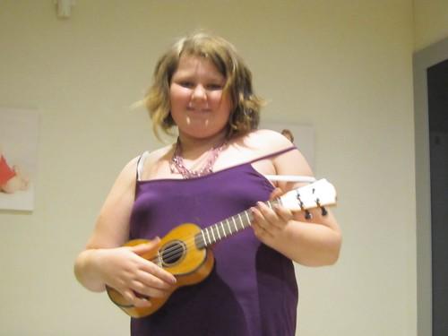 Amy playing her ukelale