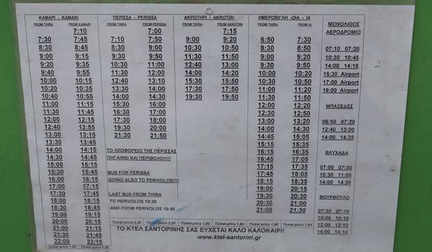 Ônibus em Santorini