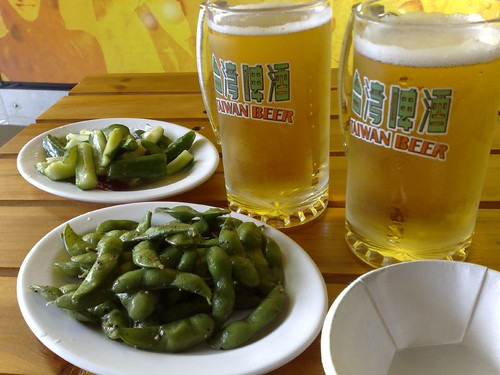 Draft Taiwan Beer with Edamame and Cucumbers