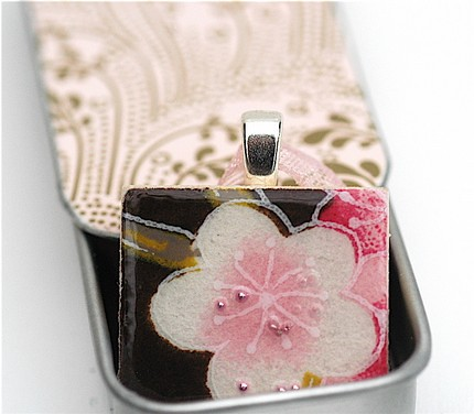 Sakura pink on brown pendant : Asian iCandy Store, Unique Asian Arts and Gifts From Independent Artists