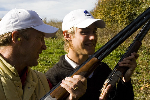 Stuart Broad and Chris Broad clay pigeon shooting