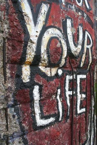 Close up of the Section of the Berlin Wall by the Graffiti Artist - Indiano