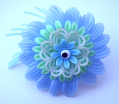 Blue and Green Vintage Flowers Brooch