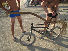Nimbus 2000 Bike Mod (redteam) Tags: summer usa man bike bicycle festival mod nimbus nevada harry potter burningman burning stick modification broom broomstick 2007 burningman2007