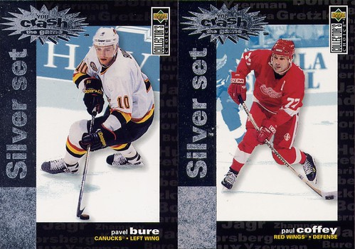Pavel Bure, Paul Coffey, 95-96 Collector's Choice, You Crash the Game, Detroit Red Wings, Vancouver Canucks, hockey cards