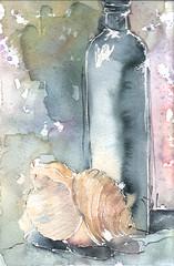 acuarela. caracola (D-Ana Fernandez) Tags: stilllife naturaleza art watercolor natur bodegn acuarela caracola conch jarron anafernandez