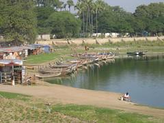 Boats at the shore of Taungthaman Lake (R Stanek) Tags: lake boats burma shore myanmar mandalay amarapura ubein taungthaman