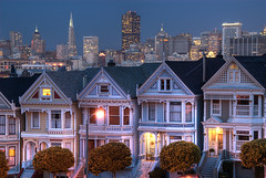 Alamo Square (Aaron Siladi) Tags: sf sanfrancisco california city skyline architecture twilight dusk victorian hdr paintedladies alamosquare photomatix wcig2 gmoz