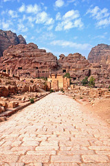 Jordan-18C-007 -  Colonade Street (archer10 (Dennis) (50M Views)) Tags: travel holiday colors ancient sandstone ruins colours petra free jordan dennis monuments tombs romans khazneh iamcanadian worldtravels nabataeans dennisjarvis archer10 dennisgjarvis