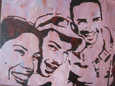 Stencil Portrait - Vanessa and two friends