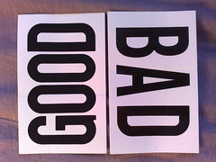 "Cards with the words ""good"" and ""bad"" written on them"