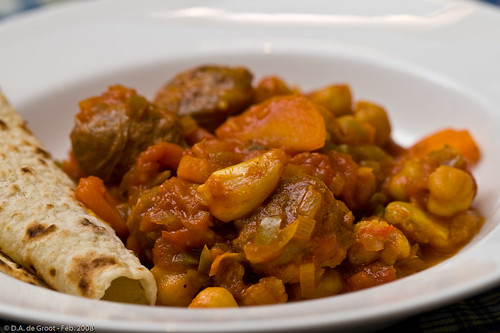 Spanish Sausage Stew with Chickpea Flatbread