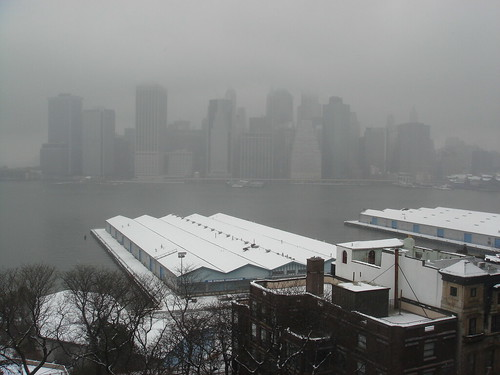 Foggy view from Brooklyn Heights