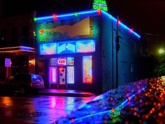 Tattoo Shop (PelGren) Tags: reflection rain tattoo night austin reflections catchycolors colours catchycolorsblue earthnight fdrtools