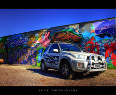 The Grafitti Wall & the RAV - HDR + Orton (Artie | Photography :: I'm a lazy boy :)) Tags: car wagon design grafitti australia tribal spotlight toyota adelaide rav4 southaustralia cruiser hdr orton roofrack artie foglight bullbar