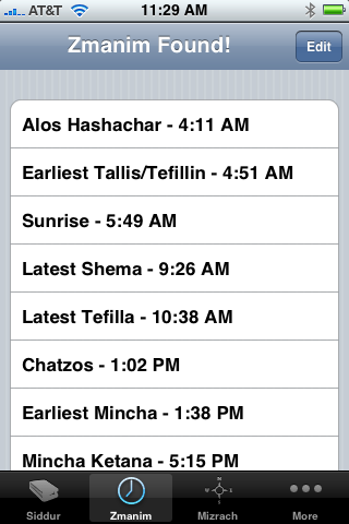 iPhone Jewish Times - Zmanim