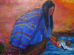 Lady at stream (Carolyn Sue Lewis) Tags: painting acrylic nativeamerican ladyatstream
