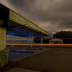 Petro-Pelago (Lost America) Tags: lightpainting abandoned night clouds gasstation fullmoon ghosttown highway395 nocturnes olancha