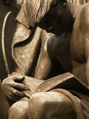 Young Man Reading: Detail Of Robert I. Aitken's 1933 Bronze Samuel Gompers Memorial (Washington, DC) (takomabibelot) Tags: geotagged reading book rope allegory laboromniavincit romanbronzeworks eleventhstreetnw geo:lat=38904011 geo:lon=77026485 robertiaitken samuelgompersmemorial vitaleandgeiffert massacusettsavenuenw americanfederationoflabor samuelgomperspark freddrewcompany