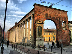 le Colonne di San Lorenzo, Milan (photphobia) Tags: winter italy milan interesting published moody shadows cloudy roman basilica columns perspective bicycles depth hdr redbrick 2ndcentury ticinese stilicho passionofchrist ~wevegotthepower~ colonedisanlorenzo ticinesedistrictmilan columnsofsanlorenzo photphobia stilichothevandalwhosavedrome emperormaximian ticinesedistrict