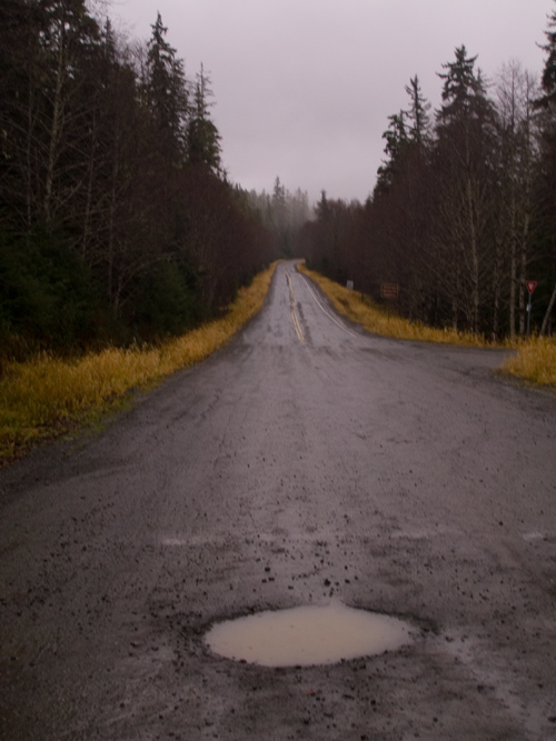 pothole at the end of the road, Juneau, Alaska