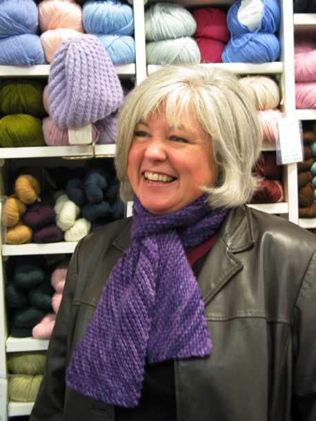 Charlotte and her lovely diagonal Malabrigo Scarf