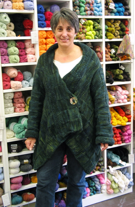 Lynn with her amazing Malabrigo sweater coat