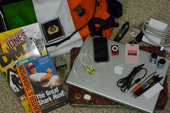 What's in my bag? (ABMann) Tags: film apple bag keys nikon ipod d70 whats knife running front row nikond70s your comicbooks hunterthompson pens nikkor productplacement timbuk2 shuffle bottlecap frontrow rootbeer dmz warrenellis waytoomuchstuff iphone desolationjones laptopsleeve macbook frugalmuse macbokpro nikesport mybackhurtssometimes tryrunningwithallthiscrap nikkorlensnotacanoncameracanonusersareevil