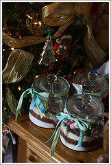layered cocoa in jars