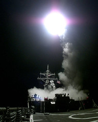 Tomahawk missile launched from a war ship