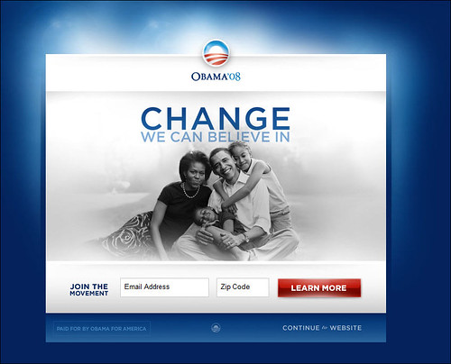 Barack Obama for President Splash Page