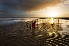 The Trolley (BarneyF) Tags: sunset sky seascape color reflection water pool shopping landscape trolley crosbybeach aplusphoto diamondclassphotographer