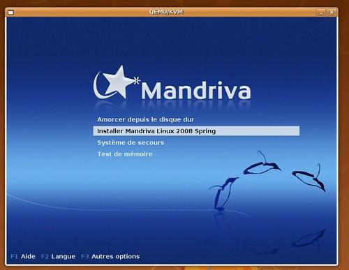 Ecran de démarrage de Mandriva 2008.1 dans KVM