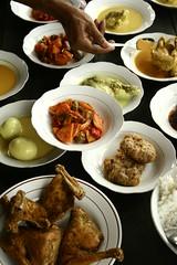 Khas Minang Surya (Farl) Tags: travel original food hot chicken colors indonesia restaurant java hand muslim spice eggs plates spicy buffet tradition jawa surabaya sumatran surya padang rendang masak unprocessed pedas asis eastjava pasirputih jawatimur perkedel enak masakanpadang situbondo khasminangsurya