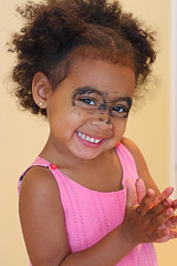 Do-It-Yourself Mascara (Mwesigwa) Tags: silly girl fun funny child play makeup dressup learning mascara eyeliner apply