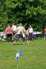 Sealed Knot in Pilley 11 May 08 (200) (Yorkshire Reckless & Proud) Tags: uk blue trees red camp england people cloud sun grass yellow train canon vintage fun happy fire model community funny gun oliver dress drum britain head united great band kingdom battle knot lord tent wentworth round cannon cavalier pike dedicated noise moor gauge narrow reenactment cromwell beefeater robber sealed musket musketeer sealedknot tankersley pilley skty skoke roudhead frumtarn