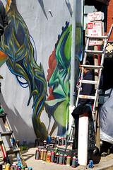 a face in the crowd (damonabnormal) Tags: streetart colors graffiti mural colours artgallery tags urbanart galleryopening spraypaint graff paintup philadelphiastreetart philadelphiagraffiti concretealchemy philadelphiaurbanart