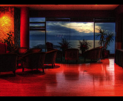 Lounge Act (ecstaticist) Tags: wood light red sky mountain window silhouette fun chair floor lounge navy canadian palm casio reflective base hdr officer forces 5x cfb poliched exf1