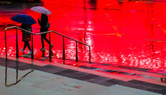 Wet Pavement, Lime St (stephenbryan825) Tags: limestreet liverpool abstracts graphic multicoloured pavement people rain red reflection selects vivid wetpavement
