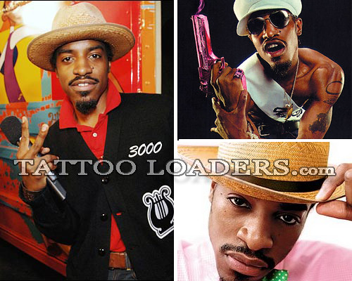 Famous Outkast rapper Andre 3000 Benjamin with his tattoos and shirt off.