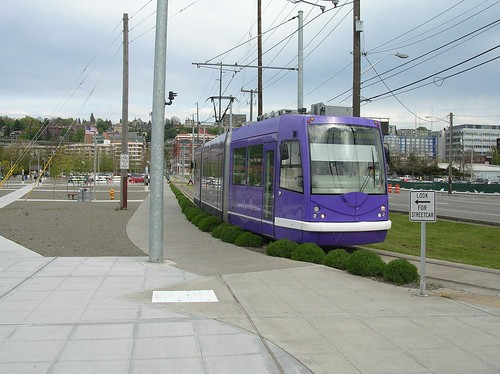 The South Lake Union Trolley and the park