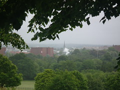 View from Ashton Court (amy's antics) Tags: trees green field grass fence bristol steam warehouses redbrick rainwind