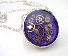 Merlins Pendant (Wendy lee Hearn) Tags: jewelry resin etsy cogs gears pendant sterlingsilver clockparts wendylee